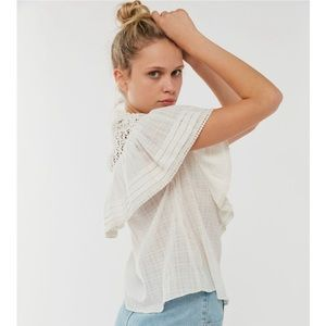 UO Bluebell Ruffle Button Down Blouse
